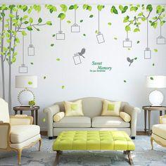 Doux Mémoire Gris Oiseaux Grand Vert Arbre Cadre Photo Salon Famille Décor Décoratif Home Decor Wall Sticker