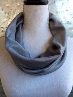Gray Stripes Fabric Circle Scarf Cowl Infinity by IndustrialWhimsy, $20.00