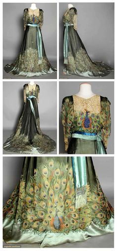 PEACOCK PRINT EVENING GOWN, c. 1910 Peacock tail printed silk chiffon w/ embroidered & beaded peacock on bodice.: