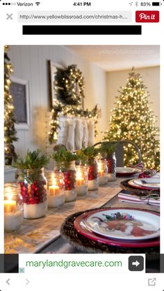 Christmas Table Setting Beautiful Christmas Home Decor   Love The Snowy  Cranberry Mason Jar Centerpieces! Part 74