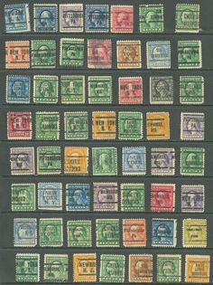 US  Defitives of 56 stamps precancel LL,New York NY 20¢ Franklin & 5¢ Washington