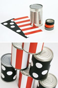 Free Printable Tin Can Wraps to make a Halloween Ball Toss Party Game #halloweenparty #partygames