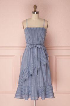 Kizzie Blue #boutique1861 #dress #summer #summerdress #stripes #blue #ruffles #belt #bow