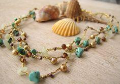 Crochet Necklace Wrap Bracelet Bohemian jewelry $30.00