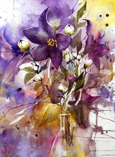 Ballonklokjes 56x76cm Watercolors, Abstract, Artwork, Flowers, Anime, Painting, Work Of Art, Watercolour Paintings, Summary