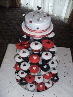 Red white and black cupcakes, perfect for Night Circus book club or cardiology office!
