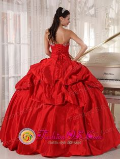 489f875a42 Mollendo Peru Red Quinceaners Dress Sweetheart Ball Gown for Formal Evening  lace up bodice With Pick-ups and Beading Style Dresses