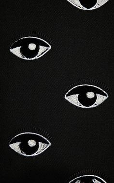 textile japonais : Kenzo, broderie, yeux, oeil, noir-blanc