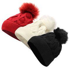 High-quality Women FurTalk Real Fox Fur Pom Pom Winter Knit Beanie Bobble Hat - NewChic