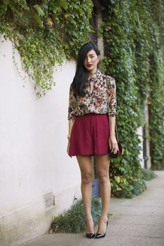 outfit: multicoloured floral-printed 3/4-sleeved blouse, wine-red miniskirt, black heels