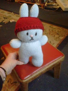 "beanie hat bunny - red hat pale blue bunny approx 10"" tall"