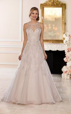 6553 A-Line Halter Wedding Dress with Silver Beading by Stella York