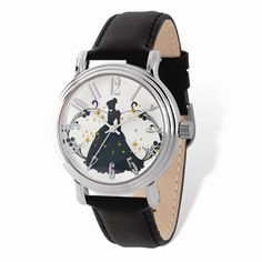 Ladies Disney Silver-tone Cinderella Black Leather Watch