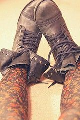 Have boots just like these that I love. Need to get more fancy tights to wear with them