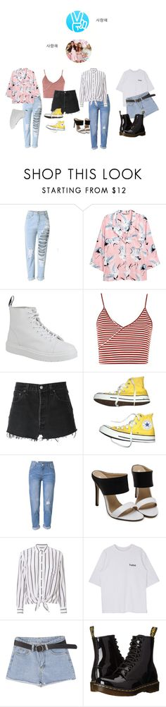 """Vlive MV reaction and 16M views"" by arenbeofficial ❤ liked on Polyvore featuring H&M, Dr. Martens, Topshop, RE/DONE, Converse, WithChic and Equipment"