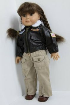 """Aviator Pilot Outfit Leather Jacket, Cargo Khaki Pants & Brown 2 Strap Shoes Fits 18"""" Inch American Girl Dolls Like Molly by WDC. $29.95. Cute outfit for your 18"""" American girl doll!. Doll Not included.. Leather jacket with fur collar, cargo pants with ties and snap pockets, and brown two strap shoes are included.. Such a cute set for any 18"""" doll! Comes complete with a leather aviator jacket with fur collar and pilot patches ( united airlines, USA Flag). Khaki ..."""