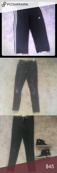 FREE add ons - let me know if you want any! Free clothes added to your parcel! Free because most of these are damaged, but still wearable! Stains, small holes, pilling, or general wear. Bottoms are size 28-29 (Levi's, adidas, joe, pacsun, banana republic). Tops are small to medium. Fred Perry shoes are 8.5. adidas Jeans