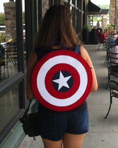 Captain America, shield round BACKPACK, adjustable straps, costume, cosplay, Marvel comics