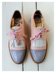 ABO leather shoes in pale pink, white and grey