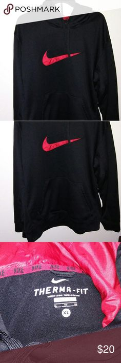 Therma-Fit Nike hoodie Great condition! Only damage is cracking in letters from storage. Black and red Nike pullover size XL. Thanks for looking! :) Nike Shirts Sweatshirts & Hoodies