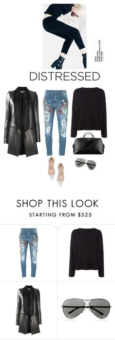 """""""Denim"""" by iriadna ❤ liked on Polyvore featuring MARCOBOLOGNA, Chanel, Balmain, Ann Demeulemeester, Valentino, Gianvito Rossi, metallic, nudepumps, distresseddenim and winterstyle"""