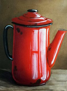 Katie Grobler - Jug x Watercolor Pencil Art, Farmhouse Paintings, Poster Color Painting, Coffee Cup Art, 3d Art Drawing, Colored Pencil Artwork, Vintage Enamelware, Decoupage Vintage, Still Life Art