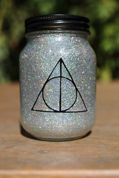 Tinted Glitter Mason Jar  -  Harry Potter and the Deathly Hallows Inspired on Etsy, $7.50