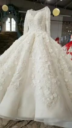 New luxury design long sleeve flowers see-through back Wedding Dress. Processing time business day after payment . themes videos New luxury design long sleeve flowers see-through back Wedding Dress Wedding Dresses With Flowers, Top Wedding Dresses, Luxury Wedding Dress, Wedding Dress Trends, Bridal Dresses, Wedding Gowns, Wedding Hijab Styles, Pretty Quinceanera Dresses, Simple Gowns