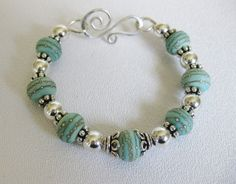 Robins Nest Blue Silver Bangle by ToBeMeJewelry on Etsy, $74.00
