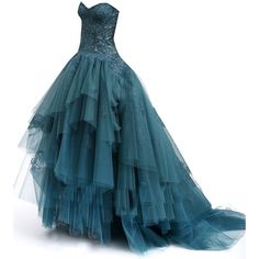 MONIQUELHUILLIER--Editado por dehti - ❤ liked on Polyvore featuring dresses, gowns, long dresses, vestidos, ball gowns, blue ball gown, blue gown, blue dress, long blue evening dress and long blue dress