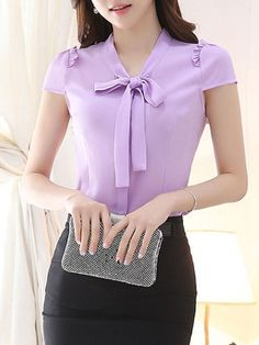 Fashionmia - Fashionmia Fitted Tie Collar Bowknot Plain Short Sleeve T-Shirt - AdoreWe.com Kurti Neck Designs, Dress Neck Designs, Blouse Designs, Modern Outfits, Stylish Outfits, Formal Tops, Cute Asian Fashion, Sewing Blouses, Western Dresses