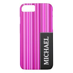 #stripes - #Thin Magenta and Pink Stripes Pattern Custom Name iPhone 7 Case