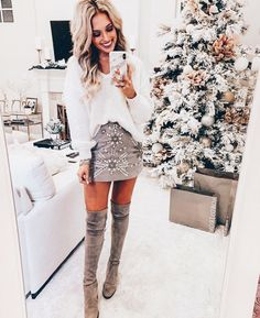boutique o # 2019 fall outfit ideas. boutique o The post fall outfit ideas. boutique o # 2019 appeared first on Outfit Diy. Holiday Outfits, Fall Winter Outfits, Autumn Winter Fashion, Christmas Outfits For Women, Skirt Outfits For Winter, White Christmas Outfit, Stylish Winter Outfits, Holiday Party Outfit, Christmas Fashion