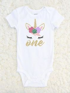 Unicorn Birthday Shirt - First Birthday Glitter Unicorn Outfit Let everyone know your little girl is ONE in this super adorable glitter one piece unicorn bodysuit! Great for a cake smash/first birthday photoshoot! We can also customize number if your little one is celebrating a