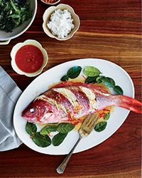 Beautiful! Whole Red Snapper with Roasted Tomato Sauce Recipe | Food & Wine