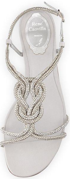 Rene Caovilla Braided Crystal T-Strap Sandal