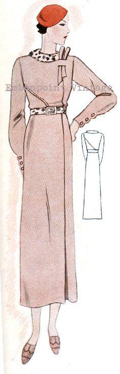 Plus Size (or any size) Vintage 1934 Dress Sewing Pattern - PDF - Pattern No 1533 Opal