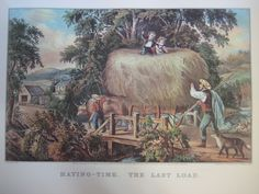Vintage Currier & Ives America Color Print, Haying-Time, The Last Load