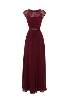 Timeless Jewel A-line Floor Length Chiffon Burgundy Prom/Evening Dress With Beading