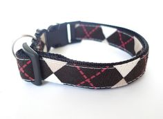Small and Medium size Collar Argyle Brown by usagiteam on Etsy, $29.00