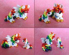 Mama and Baby Rainbow Ponies 1 by DragonsAndBeasties on deviantART