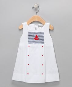Petit Confection - White Sailboat & Stats Dress