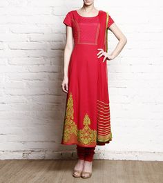 MANISH GUPTA - Fuschia Embroidered Georgette Anarkali Suit FLAT 60% OFF!! Click on the photo to shop this outfit! :) *Limited period offer!!