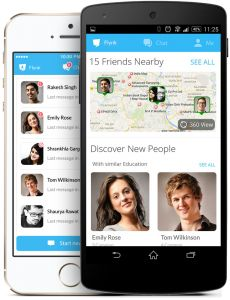 The smartphone app automatically shows the location of people in & around your immediate area, allowing you to search for interesting people.