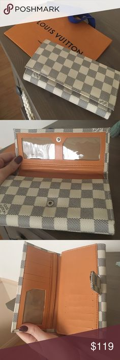 REDUCED!! 👇🏻LV WALLET Brand name wallet. Please DO NOT ASK THE OBVIOUS!!! This piece opens from 2 sides. Has several compartments for ID and cc. Beige and white. Great quality. Very soft. All offers thru button please. Tags: wallet, designer, fashion, logo, mm purse, damier wallet LV.  No flaws. Louis Vuitton Bags Wallets