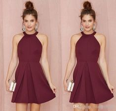 Wholesale Sexy Short Cocktail Party Dresses 2017 Halter Backless Burgundy A Line Over Knee Length Prom Homecoming Dresses Custom Made Women Formal Clothes From Nameilishawedding, & Price; Plus Size Homecoming Dresses, Hoco Dresses, Junior Bridesmaid Dresses, Junior Dresses, Pretty Dresses, Sexy Dresses, Formal Dresses, Formal Wear, Prom Gowns