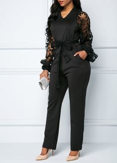 V Neck Gauze Panel Black Belted Jumpsuit Black Jumpsuit Outfit, Sparkly Jumpsuit, Jumpsuit Dress, Office Outfits For Ladies, Classy Work Outfits, Chic Outfits, Black Tie Attire, Dinner Wear, Overall