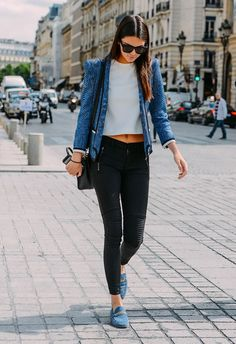 black denim kendall jenner outfit