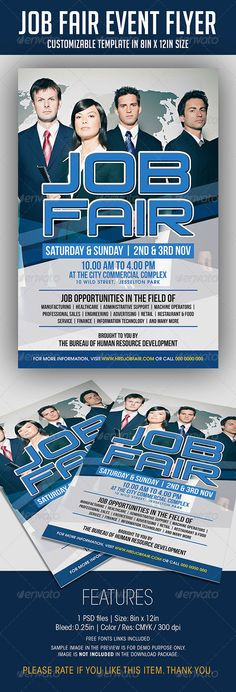 Job Fair Event Flyer  #GraphicRiver          JOB FAIR EVENT FLYER  FEATURES  1 PSD file    • PSD Layers are well organized, grouped, and appropriately named  Size: 8in x 12in (Portrait) Bleed: 0.25in Color: CMYK / 300 dpi   Fonts  Venus Rising  Bebas Neue  TeX-Gyre-Adventor   *A text file listing the link of free font is included *Sample picture in the preview is for DEMO purpose only, and NOT INCLUDED in the download package.  - Photo Credit:   —> .flickr…