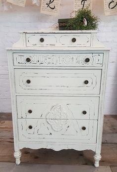 This antique painted dresser will add lots of character to your space. Visit us online for more details Antique Farmhouse, Farmhouse Style, Furniture Decor, Painted Furniture, Painted Chest, Antique Paint, Distressed Furniture, Vintage Home Decor, Your Space
